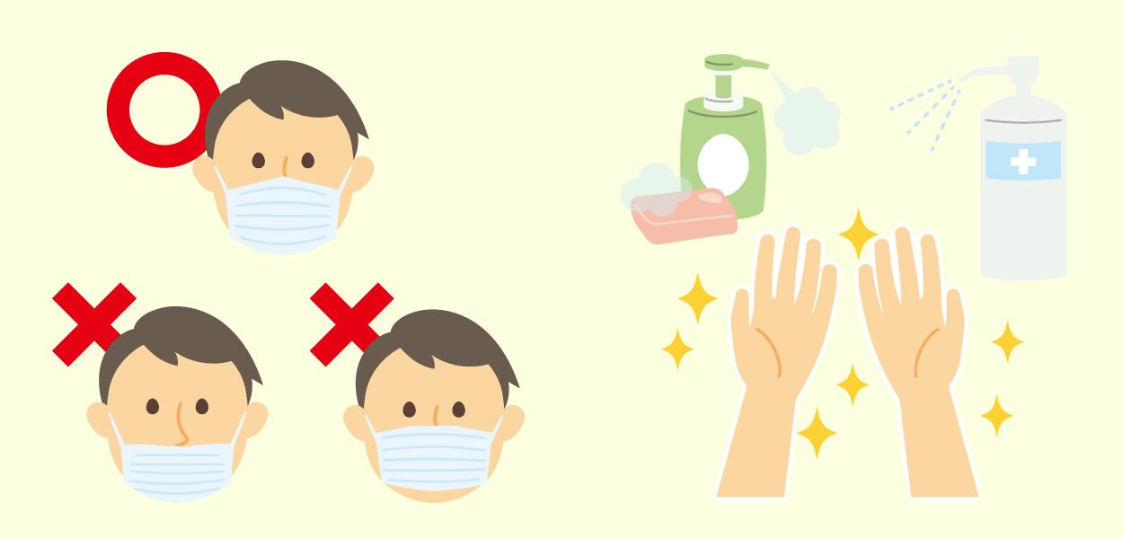 マスクの付け方・手洗い・消毒